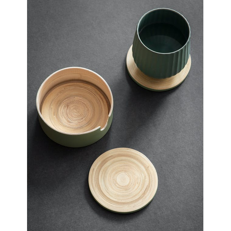 Garden Trading Set of 4 Purbeck Coasters in Sage - Bamboo