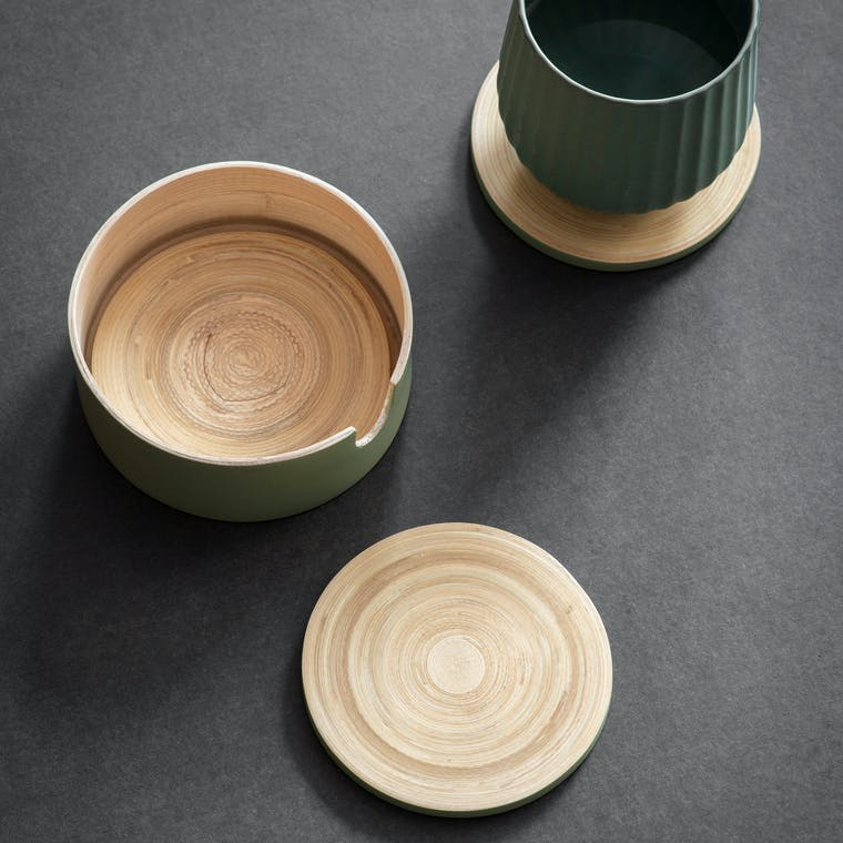 Bamboo Set of 4 Purbeck Coasters in Blue and Grey or Green   Garden Trading
