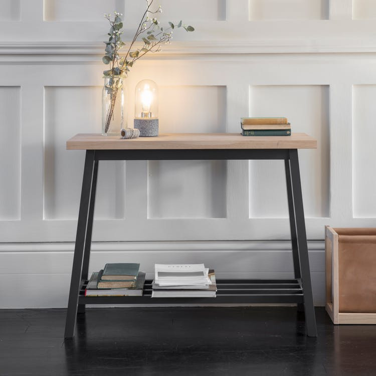 Oak Clockhouse Console Table In Black Garden Trading