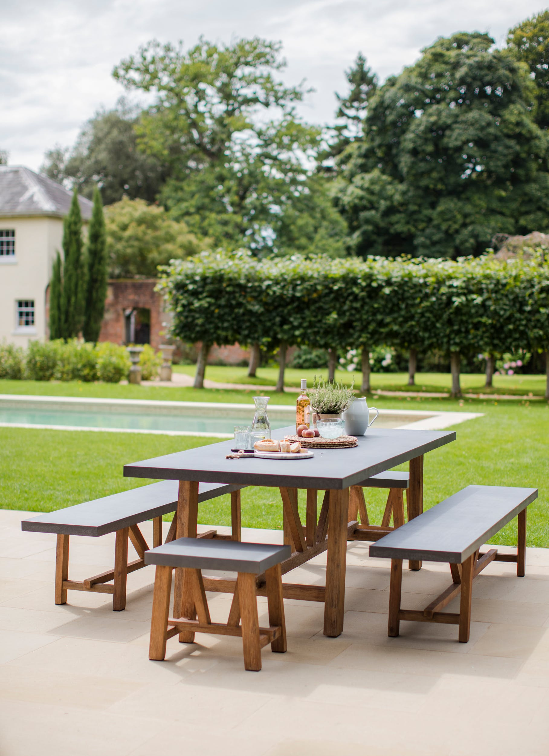 Cement Indoor and Outdoor Chilson Table and Bench Set in Small or Large   Garden Trading