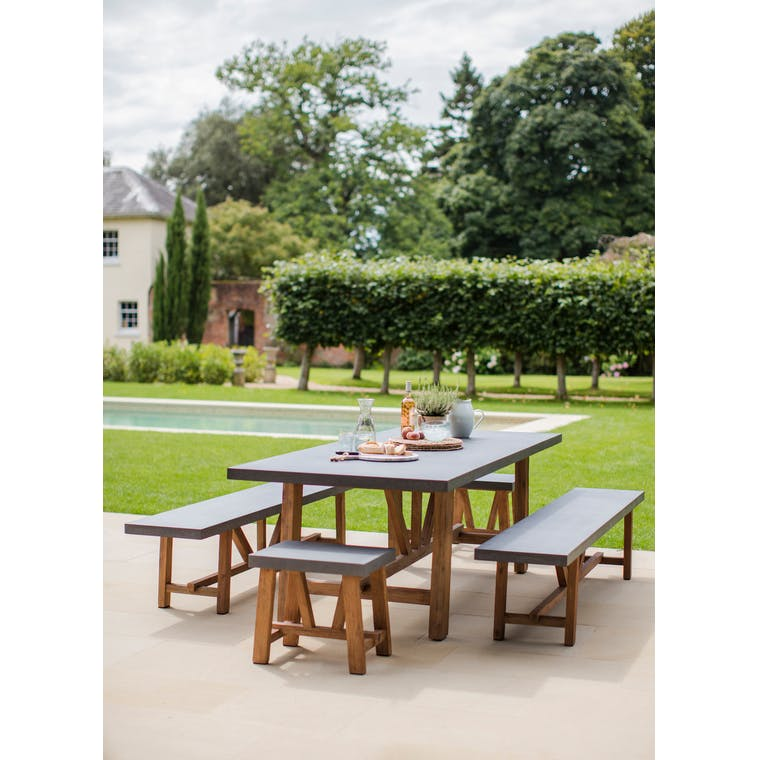 Cement Indoor and Outdoor Chilson Table and Bench Set in Small or Large | Garden Trading