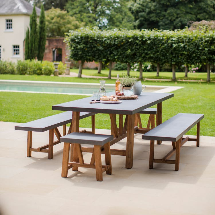 Cement Indoor And Outdoor Chilson Table And Bench Set In Small Or