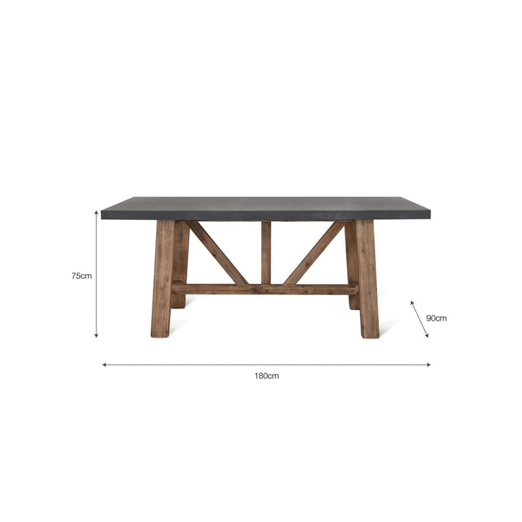 Cement Indoor and Outdoor Chilson Table in Small or Large  | Garden Trading