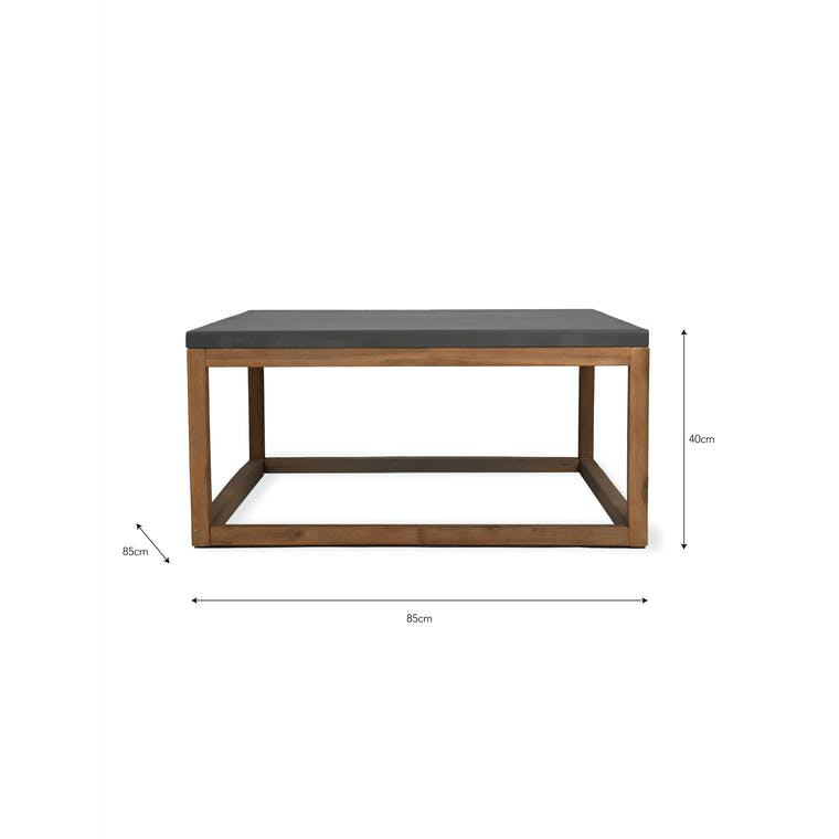 Cement and Acacia Wood Chilson Coffee Table   Garden Trading