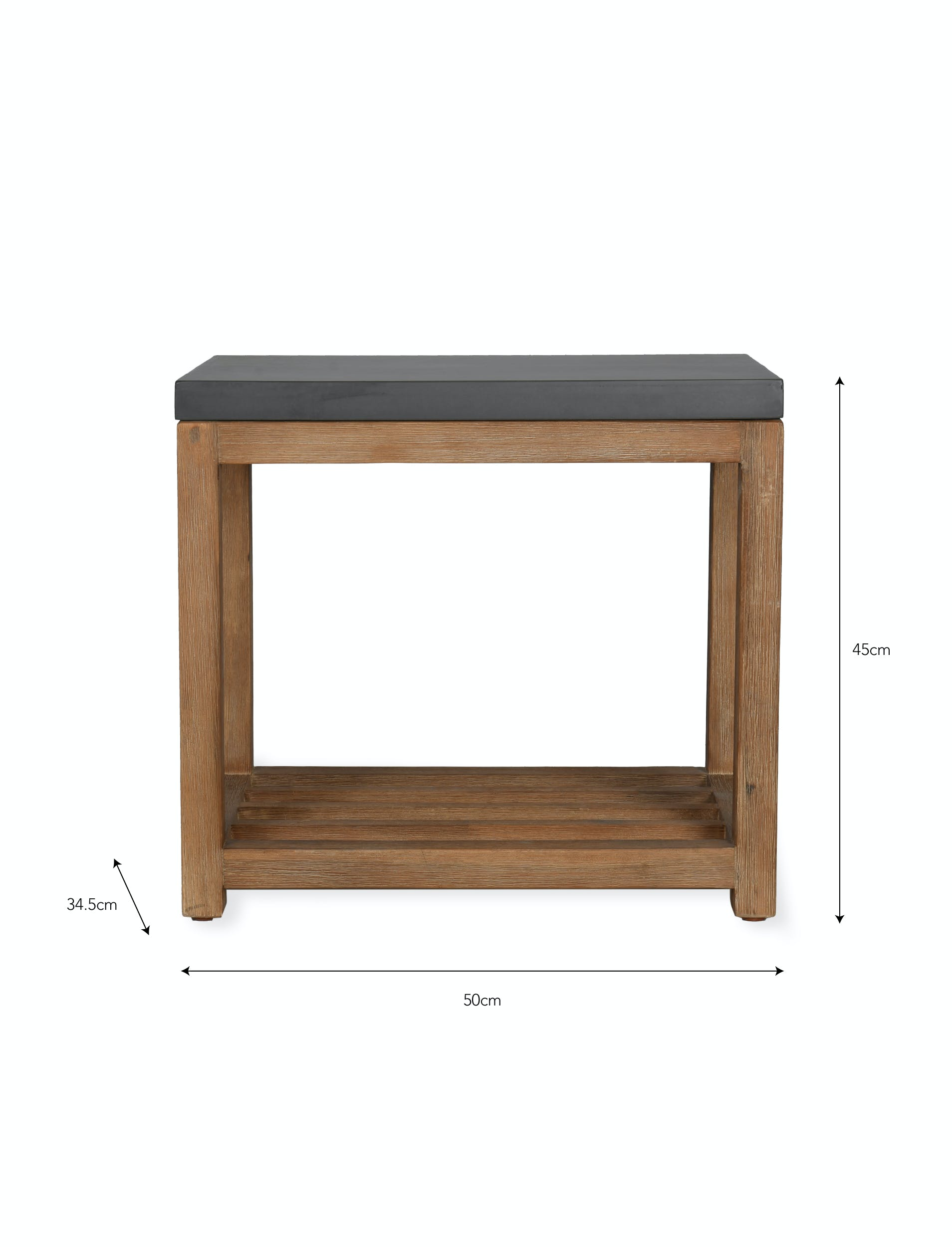 Cement and Acacia Wood Chilson Side Table with Shelf | Garden Trading