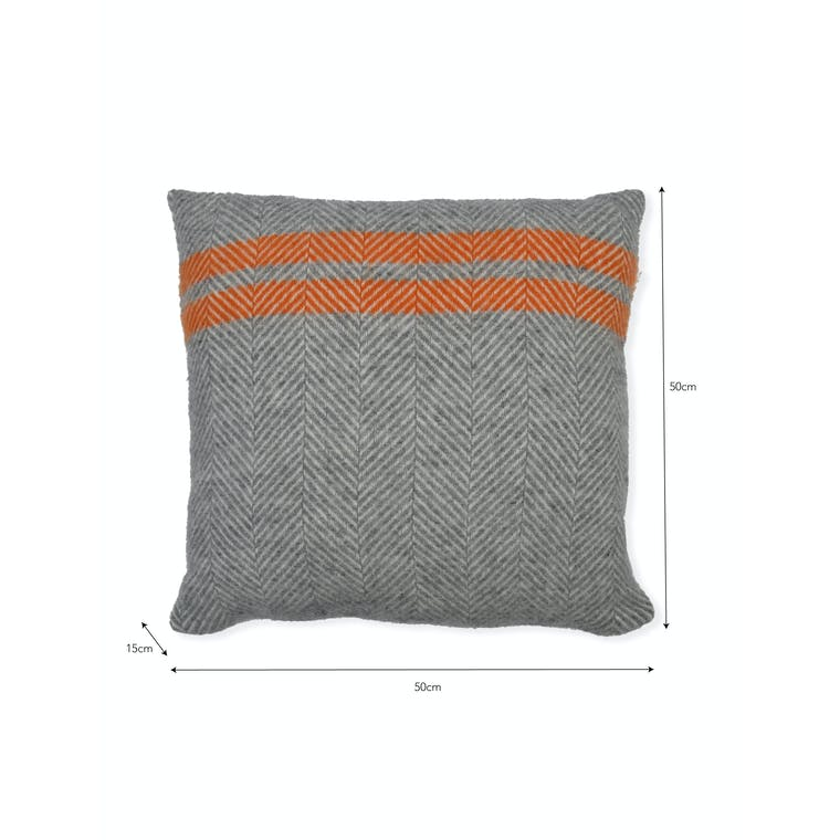 Wool Tweedmill Cushion in Grey or Orange | Garden Trading