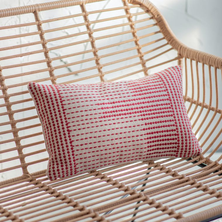 Red and Neutral Cushion in 30x50cm or 45x45cm | Garden Trading