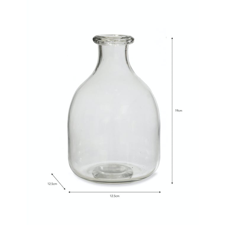 Recycled Glass Bottle Vase in Clear or Brown   Garden Trading