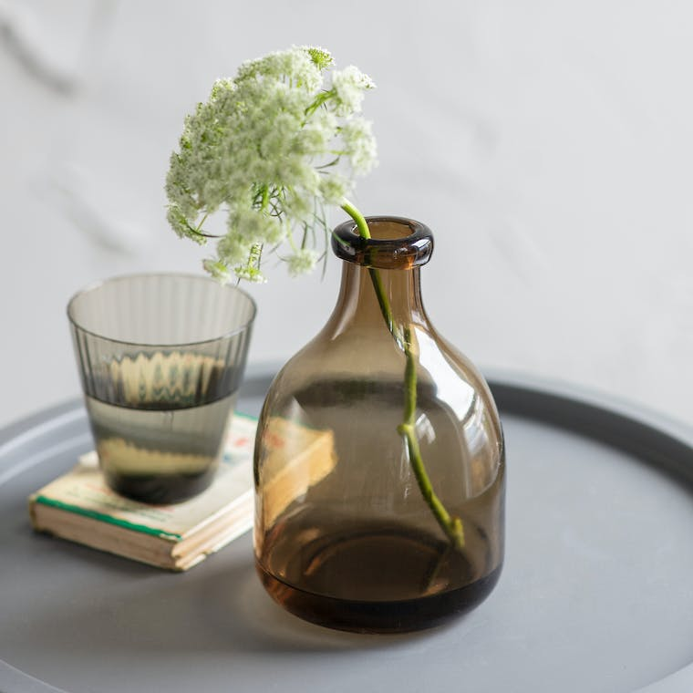 Recycled Glass Bottle Vase in Clear or Brown | Garden Trading