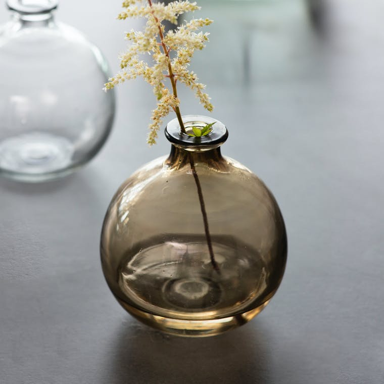 Recycled Glass Clearwell Bud Vase in Clear or Brown   Garden Trading