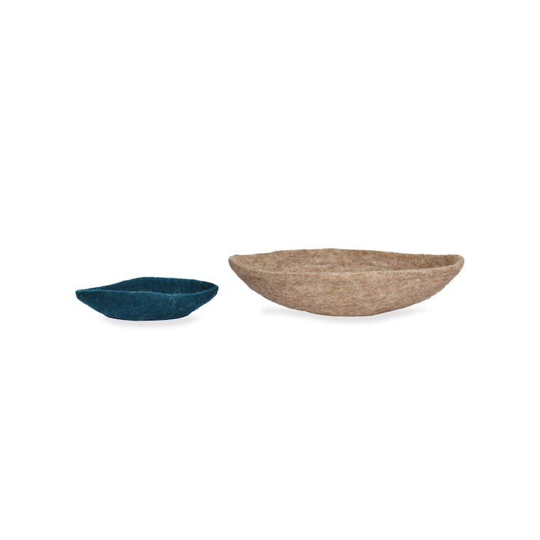 Fairtrade Felt Set of 2 Southwold Desk Storage Baskets in Brown and Teal | Garden Trading