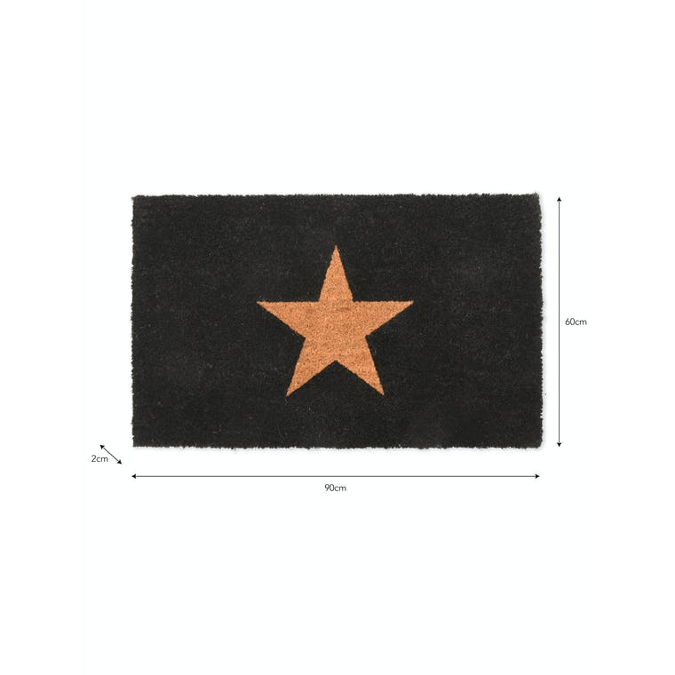 Coir Star Doormat Black in Small or Large   Garden Trading