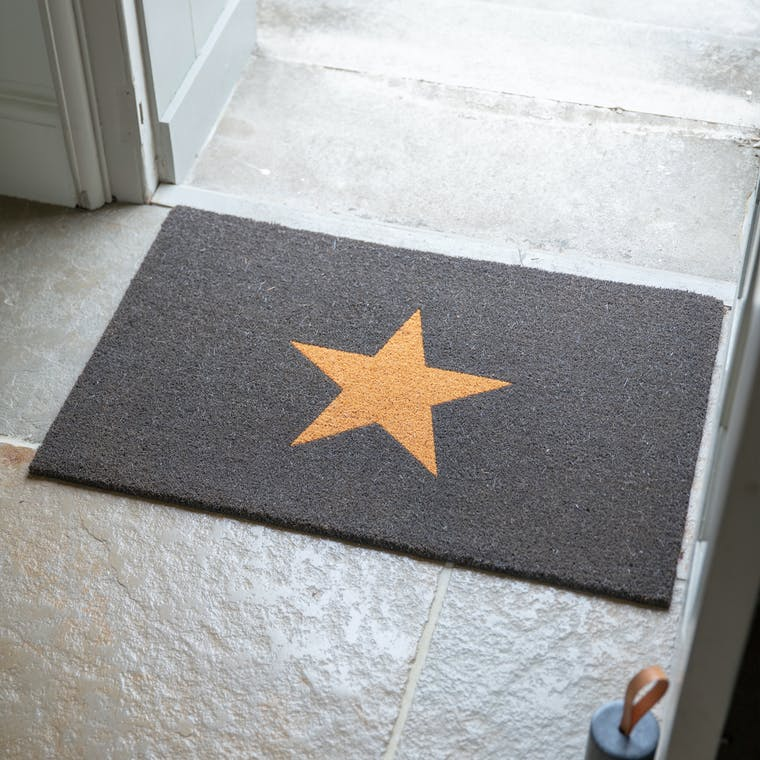 Coir Star Doormat Black in Small or Large | Garden Trading