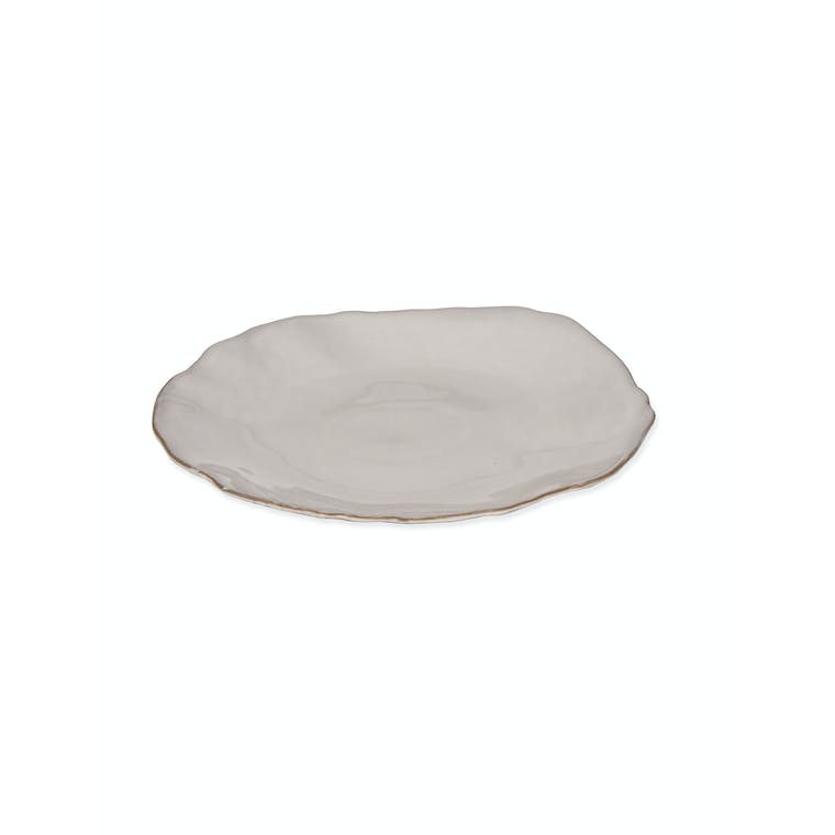 Ceramic Ithaca Dinner Plate in White | Garden Trading
