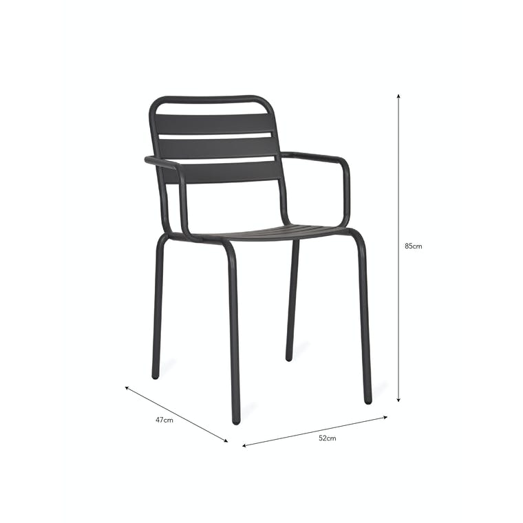 Steel Pair of Outdoor Dean Street Chairs in Green or Black | Garden Trading