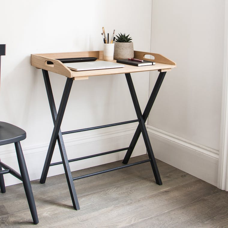 Oak Clockhouse Desk Tray in Black | Garden Trading