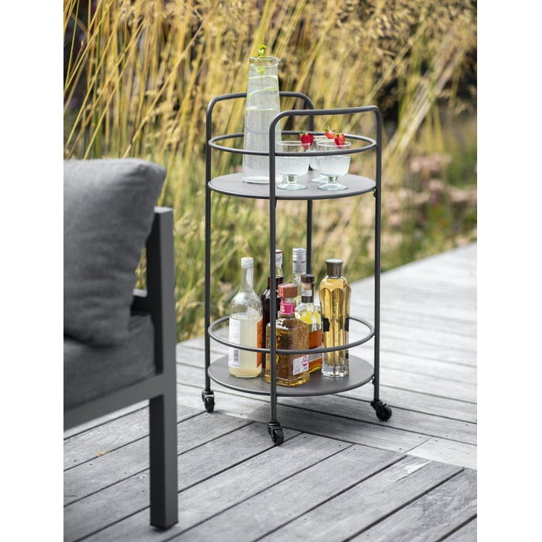 Garden Trading Round Drinks Tray in Carbon - Steel
