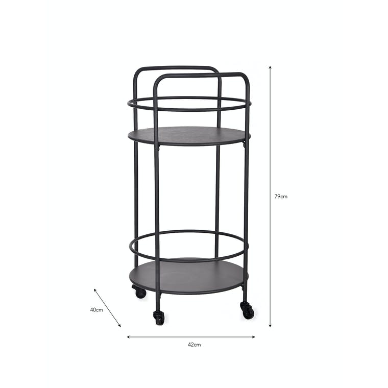 Steel Round Drinks Trolley in Black | Garden Trading