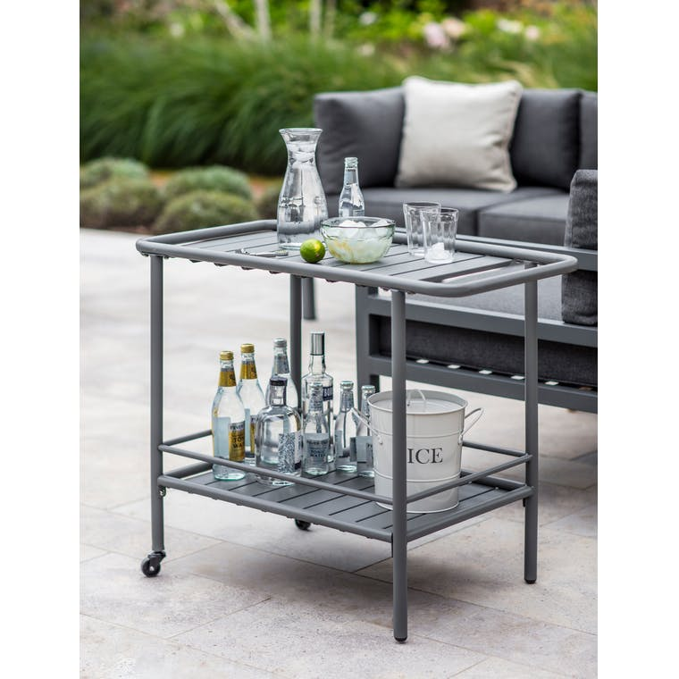 Outdoor Steel Drinks Trolley in Grey | Garden Trading