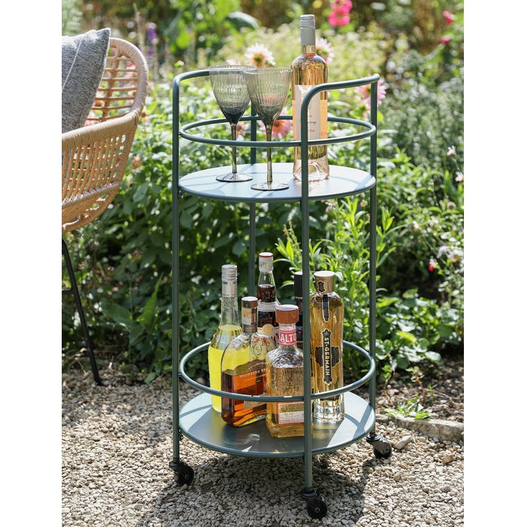 Round Drinks Trolley in Forest Green by Garden Trading