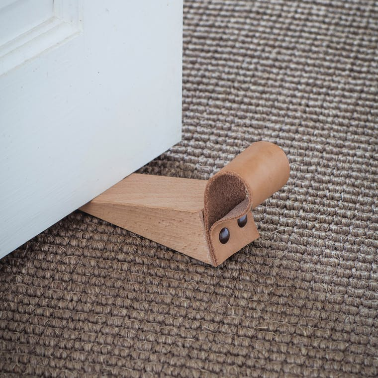 Wood and Leather Kelston Door Wedge | Garden Trading
