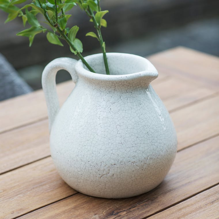 Ceramic Ravello Flower Jug in White | Garden Trading