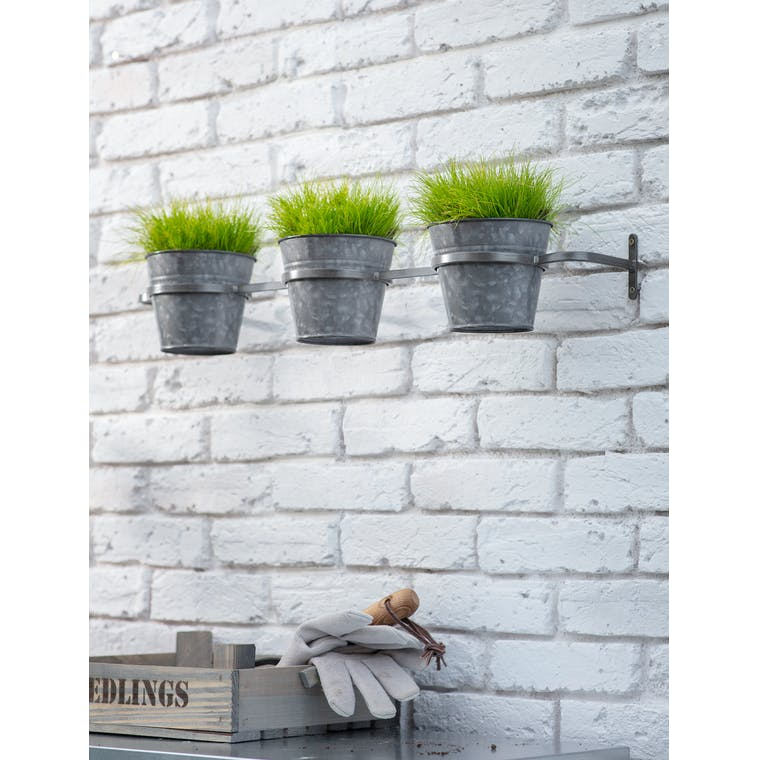 Triple Winson Wall Pots and Holder in Black by Garden Trading