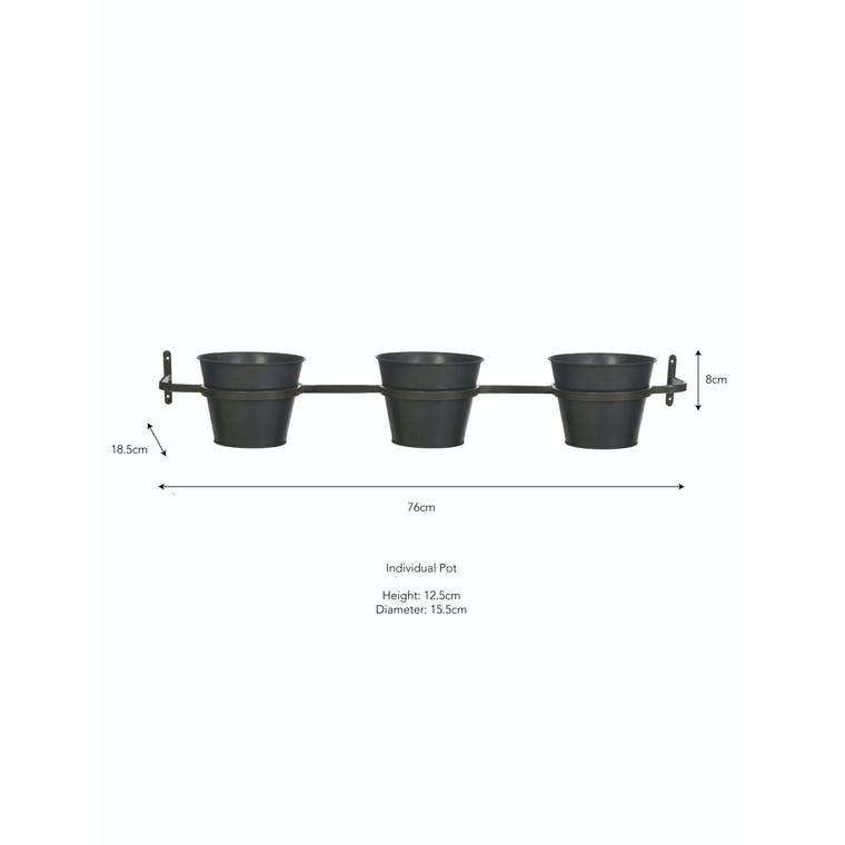 Triple Winson Wall Pots and Holder in Silver or Black   Garden Trading