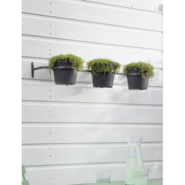 Triple Stratton Wall Pots and Holder in Carbon by Garden Trading