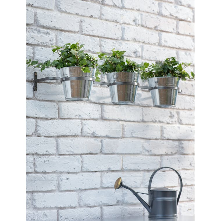 Triple Winson Wall Pots and Holder in Silver by Garden Trading