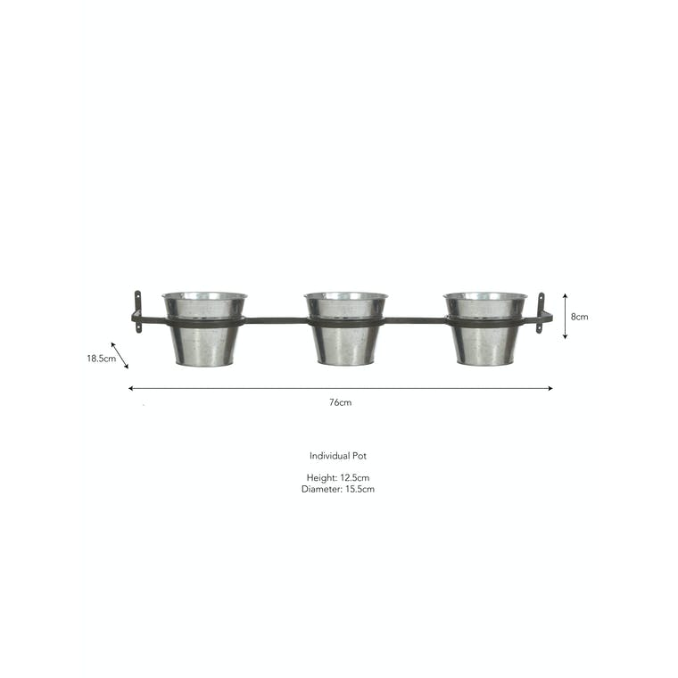Triple Winson Wall Pots and Holder in Silver or Black | Garden Trading