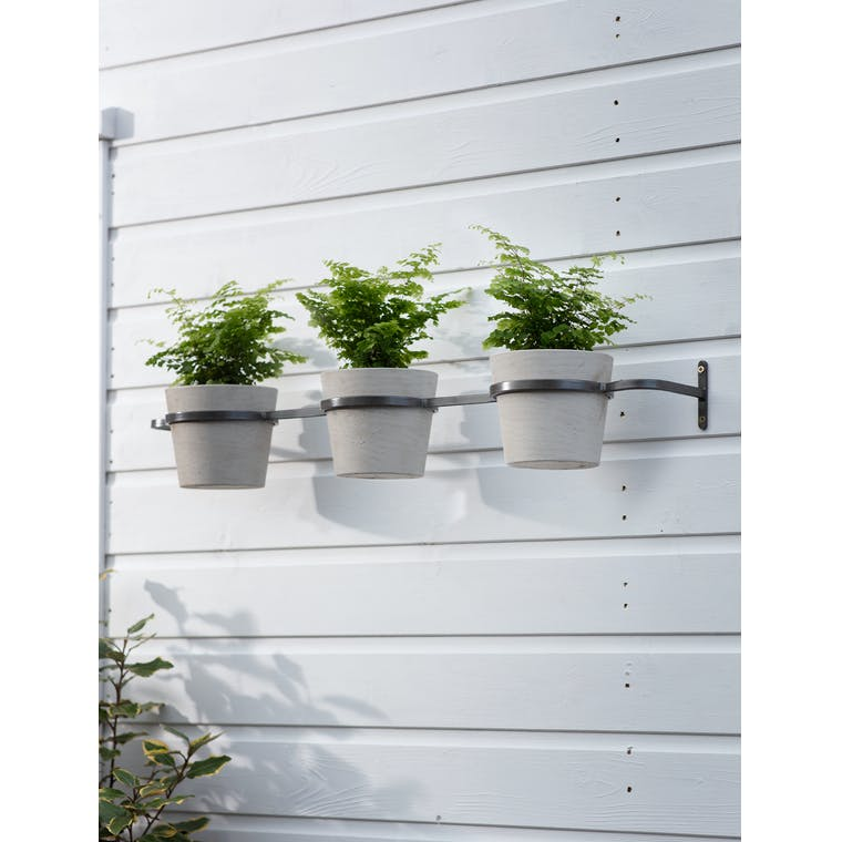 Triple Stratton Wall Pots and Holder in Stone by Garden Trading