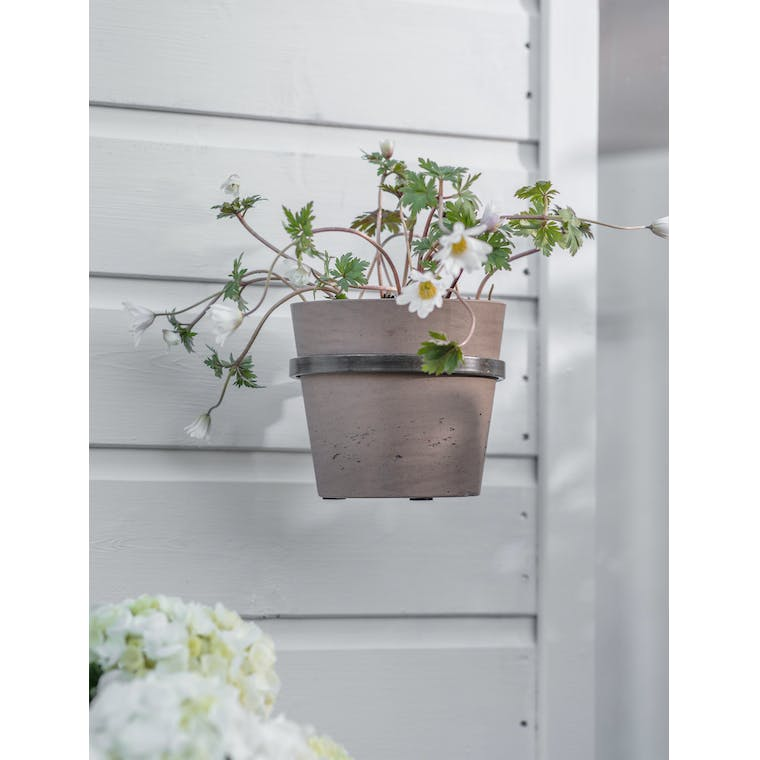 Single Stratton Wall Pot and Holder in Warm Stone by Garden Trading
