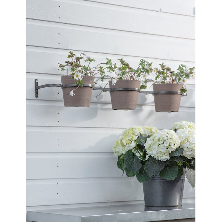 Triple Stratton Wall Pots and Holder in Warm Stone by Garden Trading