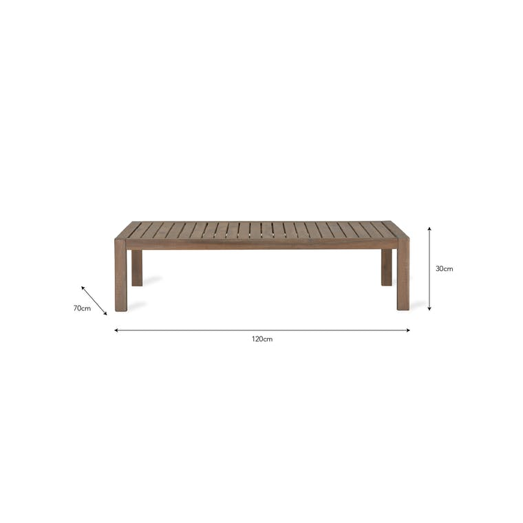 Wooden Porthallow Outdoor Coffee Table   Garden Trading