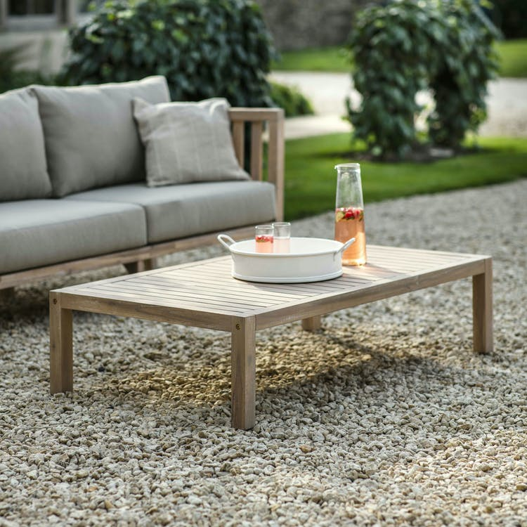Wooden Porthallow Outdoor Coffee Table, Wooden Coffee Table For Garden