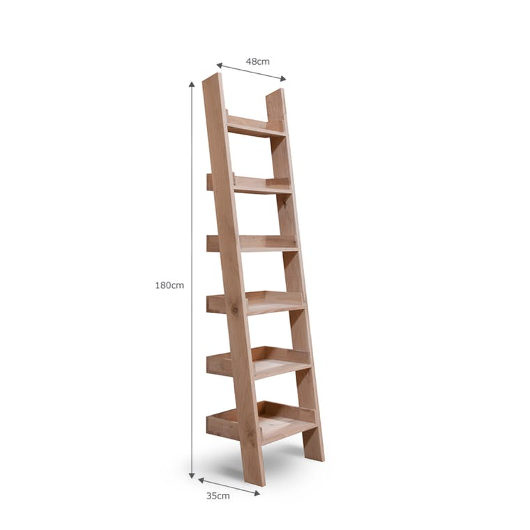Raw Oak Hambledon Shelf Ladder in Small or Large  | Garden Trading