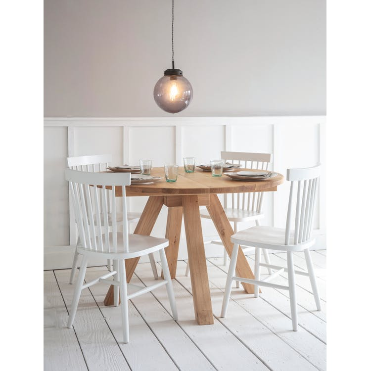 Oak Round Dining Table In Brown Or