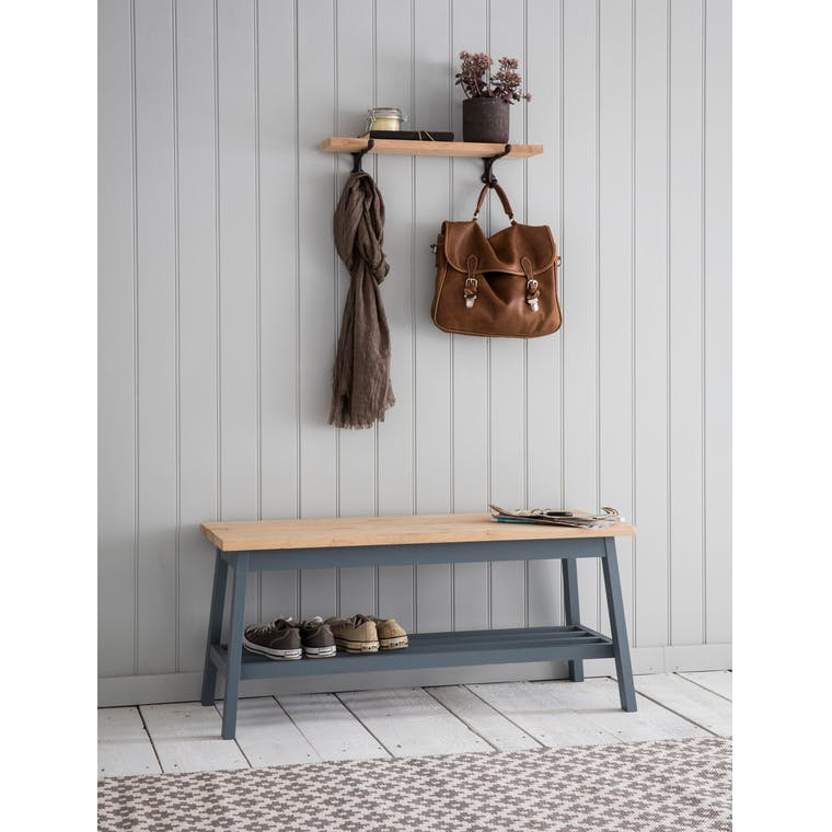 Wooden Clockhouse Hallway Bench in Grey | Garden Trading