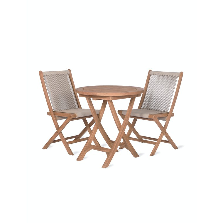 Teak and Polyrope Carrick Table and Chair Set   Garden Trading