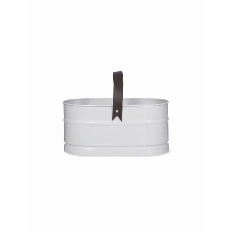 White Pet Grooming Bucket with Leather Handle | Garden Trading