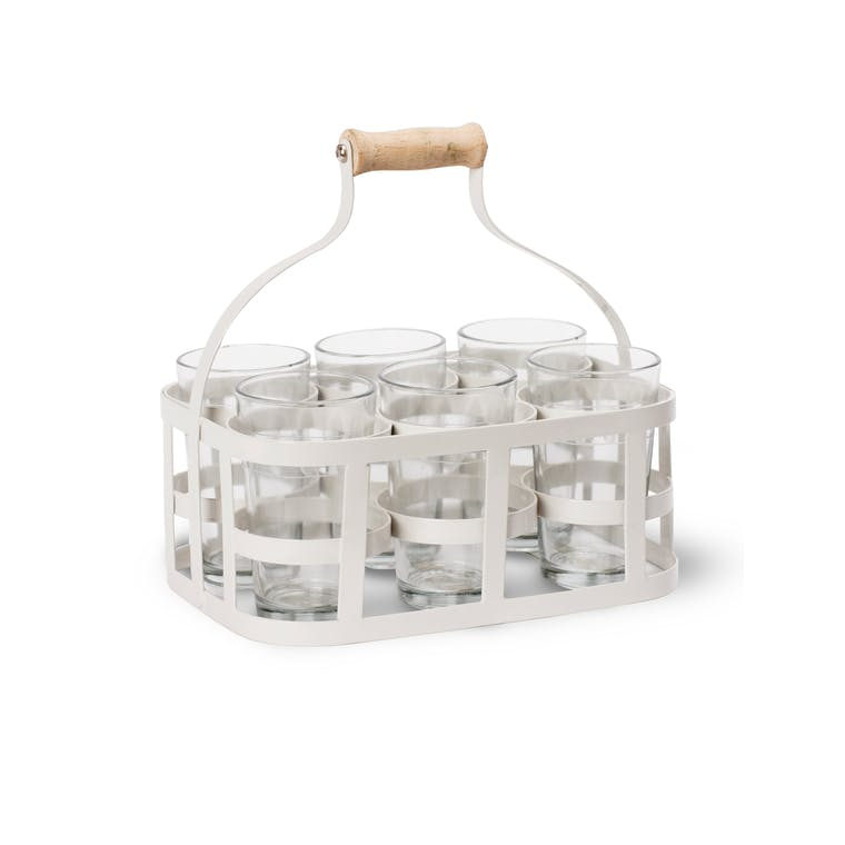 Six Glasses and Carrier in White | Garden Trading