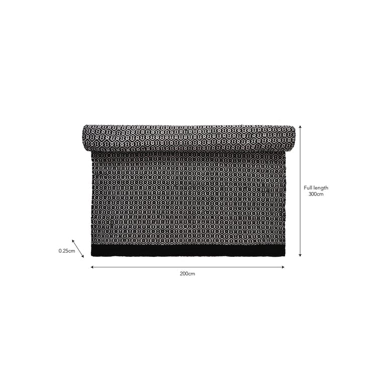 Indoor Outdoor Rug Black in Small, Large or XL - Aldford | Garden Trading