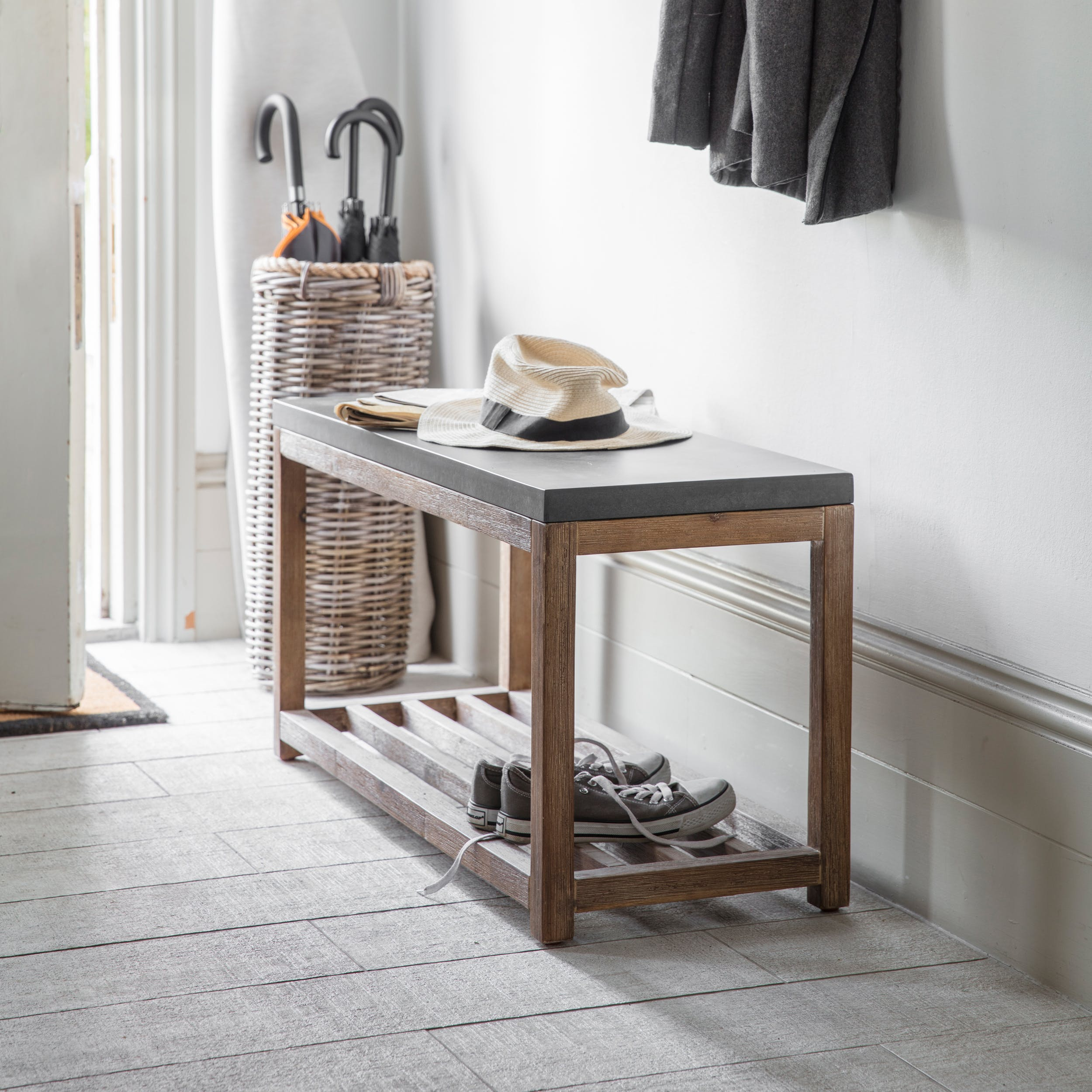 Cement and Wood Chilson Hallway Bench | Garden Trading