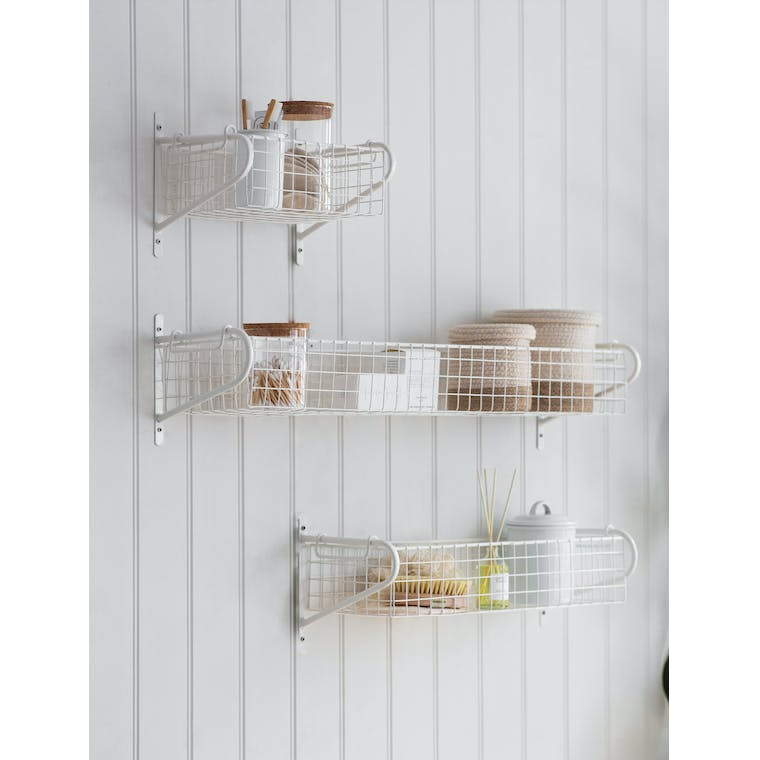 Basket Wall Shelf in White Wirework in Small, Medium or Large | Garden Trading