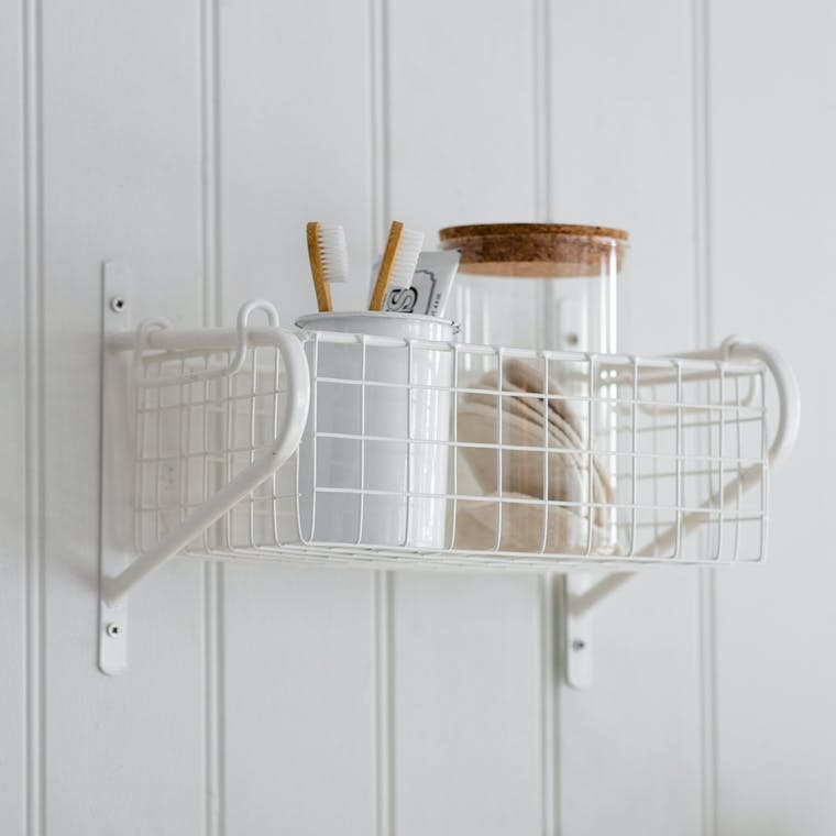 Basket Wall Shelf in White Wirework in Small, Medium or Large   Garden Trading
