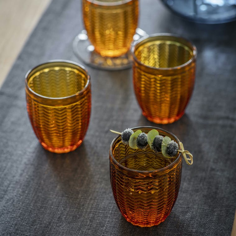 Amber Glass Set of 4 Tumblers in Herringbone or Diamond| Garden Trading