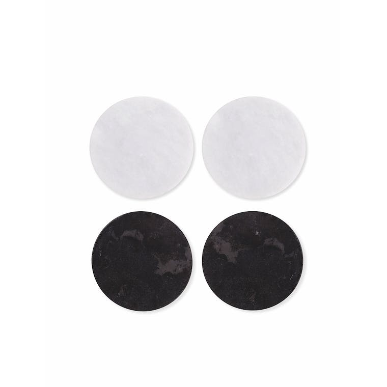 Set of 4 Marble Coasters in Black and White | Garden Trading