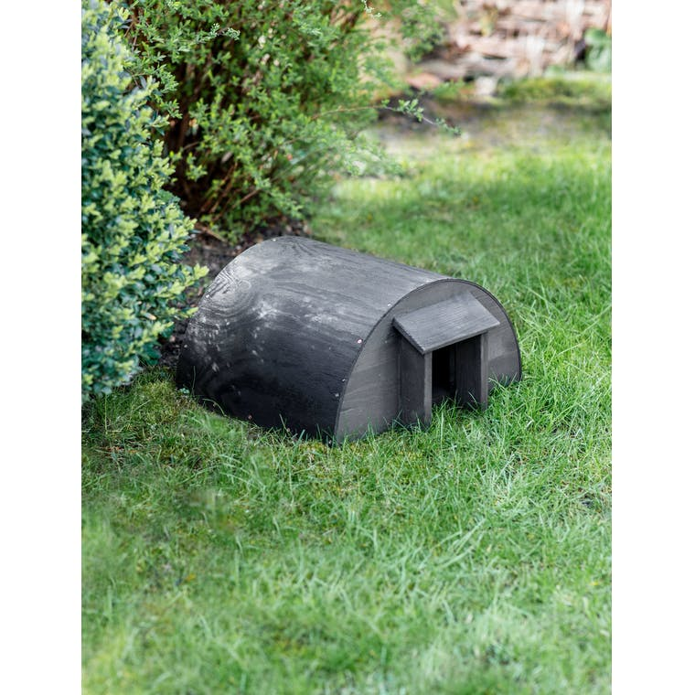 Wooden Hedgehog House in Natural or Black | Garden Trading