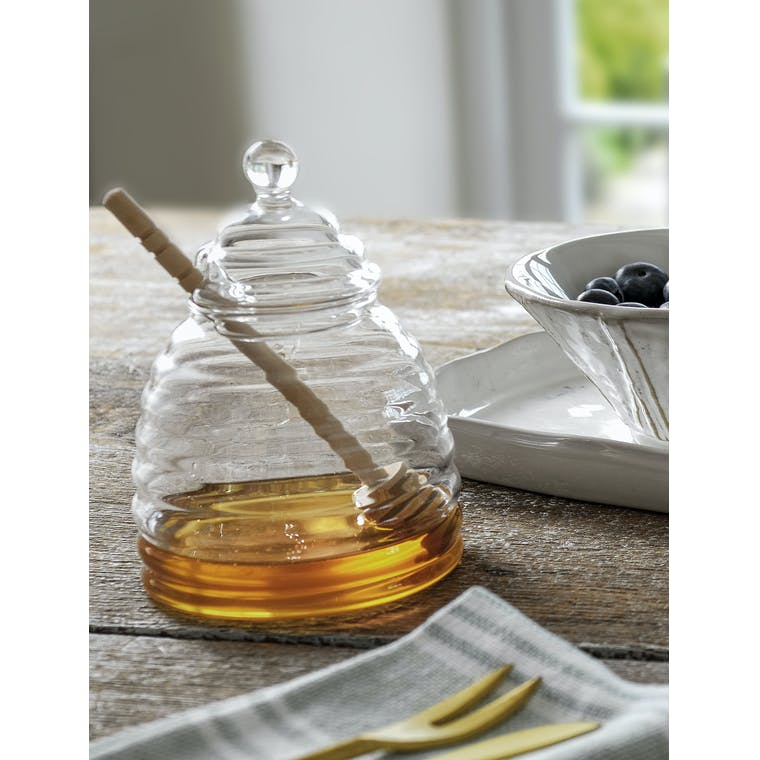 Glass Honey Pot with Wooden Dibber | Garden Trading